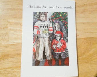 The Lannisters send their regards. Christmas card from original illustration inspired by Game of Thrones