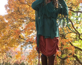 The Long Fringe Shanti Jacket with belt in Organic Hemp Fleece. Ready to ship for. Size Large in color Charcoal.