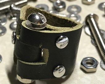 Olive Leather Screw Ring Size 9 3/4 - ALL PROFITS donated to the ACLU