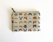 Mini zipper pouch  - Cats and glasses beige or pale blue