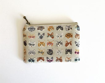 Mini zipper pouch  - Cats and glasses