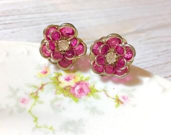 Pink Rhinestone Flower Studs, Vintage Style Stud Earrings, Retro Hollywood Glam Studs, Surgical Steel, Chunky Flower Studs, KreatedbyKelly