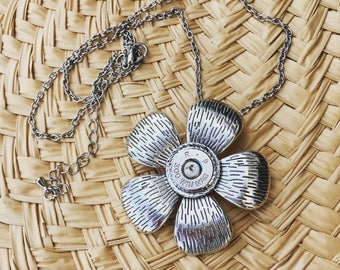 Antique Silver Large Flower Pendant Bullet Necklace with Nickel RP 300 Win Mag in Rope Edge Setting, Flower Bullet Jewelry, Bullet Necklace