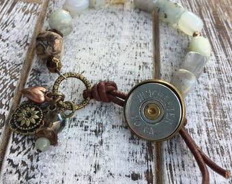 Peruvian Blue Opal and Agate Beaded Bullet Bracelet with 20 Gauge Button Style Closure, Brown Leather Bracelet