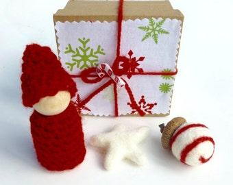 SALE Holiday gnome gift box stocking stuffer ready to ship Christmas