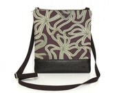 Small Crossbody Bag, Fabric Hip Purse, Zipper Cross Body Purse - Scribbled Lilies in Smoky Plum and Sage Green
