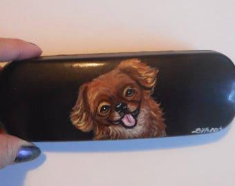 Tibetan Spaniel Dog Hand Painted Eyeglass Case Vegan