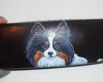 Tri Color Papillon Dog Hand Painted Eyeglass case Vegan