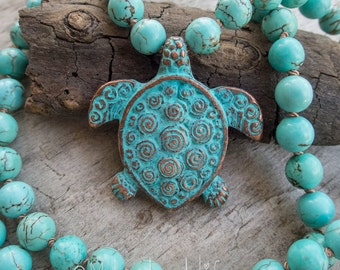 Honu Sea Turtle || Aumakua | Sea Turtle Necklace | Turquoise | Earthy | Organic | Hand-knotted Necklace | OOAK | Beach Lover | Ocean Life