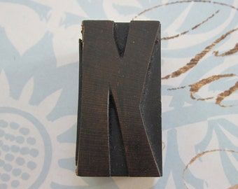 Letter K Antique Letterpress Wood Type Printers Block