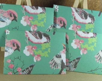 4 mini A7 handmade envelopes pretty green with birds, coloured inside