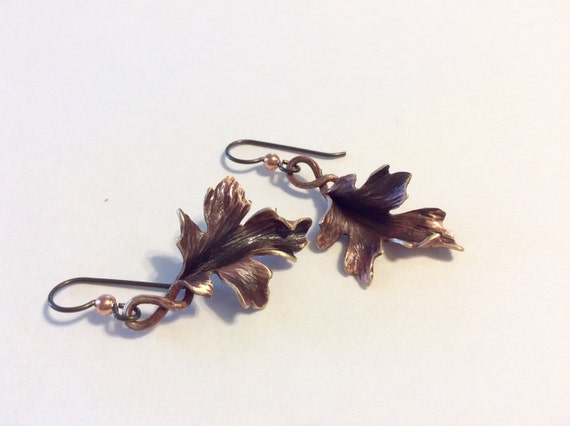 Bronze Maple Leaf Earrings - hand hammered