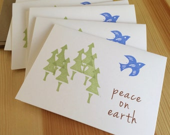 SALE! - Peace on Earth Holiday Cards - Trees and Bird Greeting Cards - Holiday Peace Dove Cards - Hand Printed - Box Set of 6