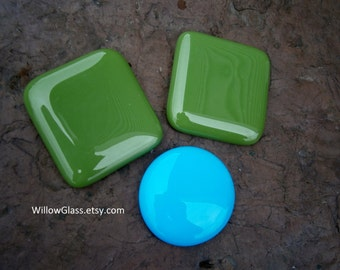 Fused Glass Cabochon, Large Avocado Green or Cyan Aqua Glass Cab, Willow Glass, DIY Jewelry Design