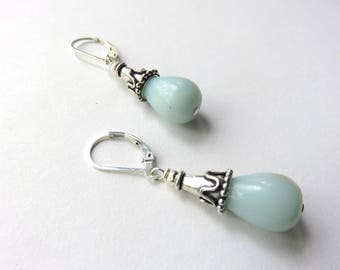 Amazonite Dangle Earrings, Silver Cone and Gemstone Earrings, Lever Back, Pastel, Sterling Silver Amazonite Earrings