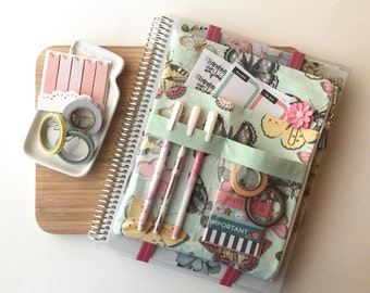 BIG planner cover - planner accessories bag - planner pocket pouch - mint zipper pouch - big zippered pouch - butterfly bag - planner case