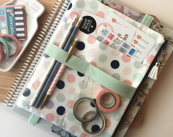 Polka dot prints planner pouch, planner cover, planner accessories - For use with Erin Condren LIFE PLANNER™ deluxe