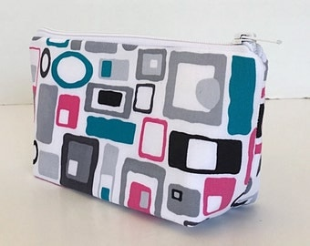 makeup bag, cosmetic bag, retro squares,  purse organize, zipper pouch,  gift for girlfriend ,gift for her, gift for  wife.