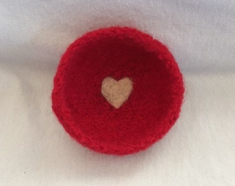 Red Valentine Felted Heart Bowl