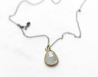 14k moss aquamarine and diamond necklace, mixed metals, oxidized sterling silver, green gemstone necklace