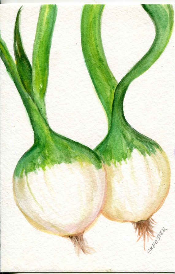 Green Onions Original Watercolor Painting, Small Vegetable Painting, Kitchen Wall Art, 4 x 6, original painting Farmhouse decor