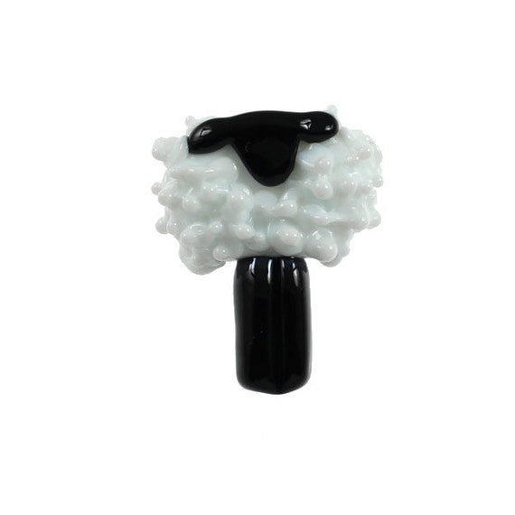White Woolly Sheep - Glass Lampwork Sheep Bead