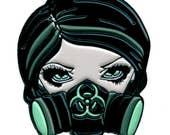Biohazard Collectible Enamel Pin by Jasmine Becket-Griffith Art gas mask cyberpunk scavengers lapel pin button gasmask cyber punk