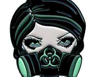 Biohazard Collectible Enamel Pin by Jasmine Becket-Griffith Art gas mask cyberpunk scavengers lapel pin button gasmask cyber punk