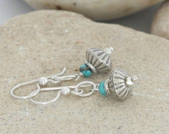 Turquoise and Hill Tribe Fine Sterling Silver  Dangle Drop Earrings // Handcrafted Jewelry // luluglitterbug