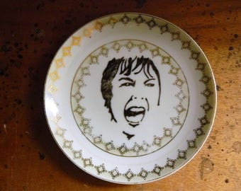 Screaming Janet hand painted vintage porcelain bread and butter plate wirth hanger Hitchcock classic horror movie decor display