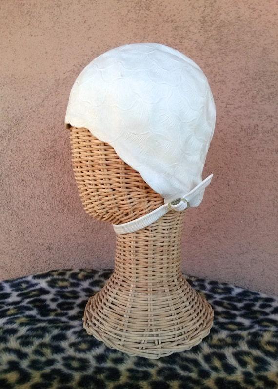 Vintage 1960s Swim Cap 60s White Bathing Cap Wondercap Large