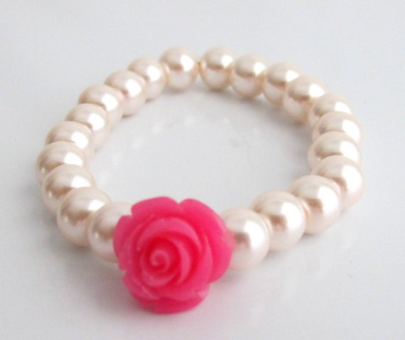 Flower Girl Bracelet with Flower,Flower Bracelet,Flower Girl Gift,Pearl Childs Bracelet,Little Girls,Flower Girl Jewelry,Free Shipping USA