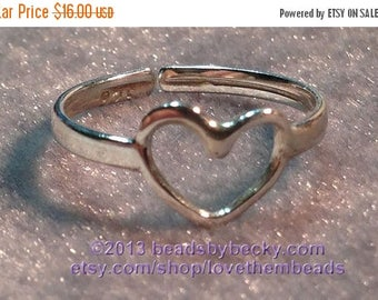On Sale Sterling Silver Toe Ring, Adjustable, Open Heart Ring, 925,  knuckle ring, mid finger ring, any size ring made to order by LoveThemB
