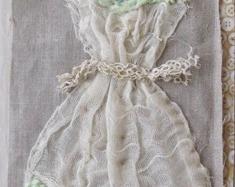 Small art quilt, dress, formal, ball gown, OOAK, hand embroidered