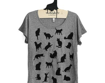 Small -  Heather Gray Dolman Tee with Cat Pattern Screen Print