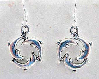 Dolphin Charm Pierced Dangle Earrings on 925 Silver Wires - Marine Sea Ocean Life Dolphin Jewelry