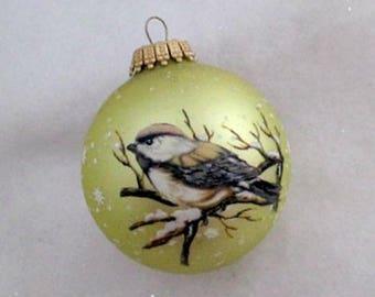 Vintage Chicadee Glass Christmas Ornament