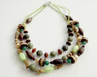 One-of-a-Kind Triple Stranded Beaded Necklace