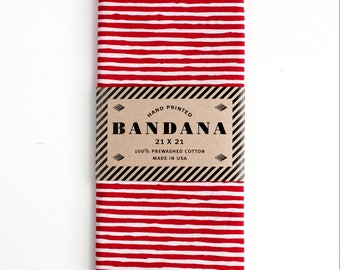 Red Striped Bandana, Hand Screen Printed and Soft