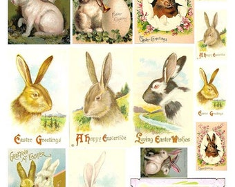 Bunny Rabbits No. 1 - Digital Collage Sheet - Instant Download