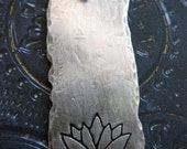 Antiqued Sterling Silver Hammered and Lotus Stamped Pendant