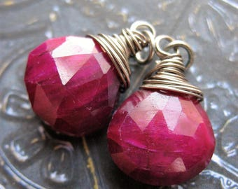 Faceted Ruby Briolette Bead Charms - 1 pair - 22mm in length