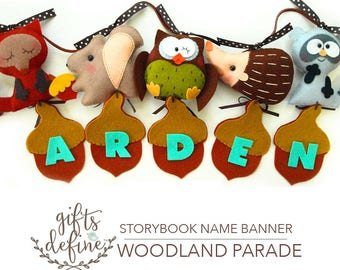 Free US Ship Woodland Parade Personalized Custom NAME BANNER, Wall Art Felt Banner, Hang Name Sign for Baby Nursery, Kids Room, Party Decor