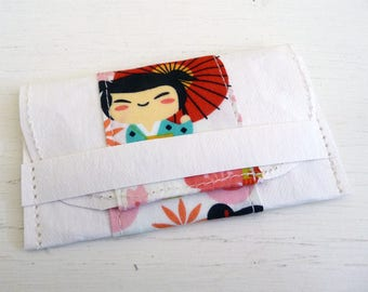 Asian Doll and Floral Cotton Print and Kraft-Tex Gift Card Holder, Business Card Case