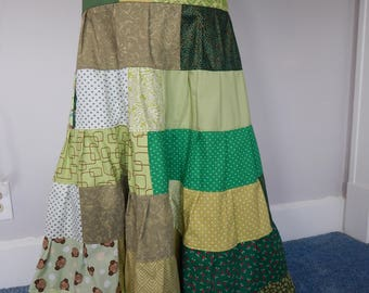 Green Goddess All Patchwork Tiered Skirt, Hippie Skirt, Spinner Skirt, Hippie Patchwork skirt, Full Length , Maxi Skirt,grateful dead skirt