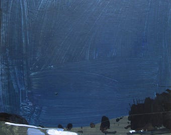 Night Walk, Original Nocturne Landscape Collage Painting on Panel, Ready to Hang, Stooshinoff
