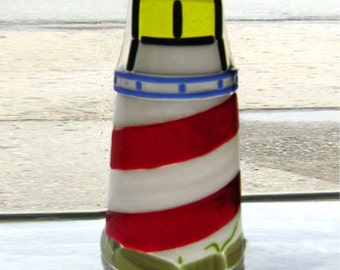 Lighthouse Candle Guard Luminary in Fused Glass
