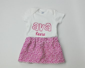 Personalized Embroidered Baby Girl Onesie, embroidered onepiece, baby undershirt, Baby Girl Pink Dots Skirt, onesie skirt set