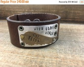 50% OFF- Leather Cuff-Word Cuff-Brave Wings