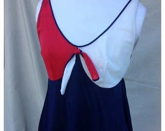 SALE- Vintage Sailor Sleep Top-Lingerie Top-Red White and Blue